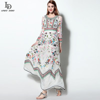 Italy Fashion Designer Runway Maxi Dress Women S Long Sleeve Stunning Gauze Retro Embroidery Evening Gown
