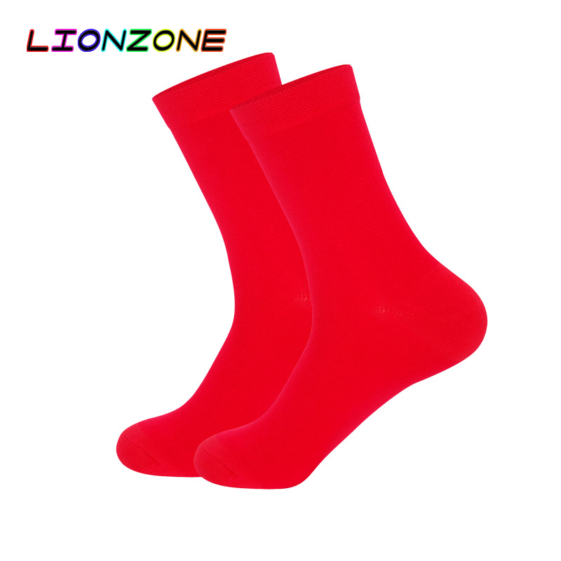 LIONZONE Mens Dress   Socks   Business Black White Navy Blue Red   Socks   Thick Antibacterial Hygroscopic Breathable Bamboo   Socks