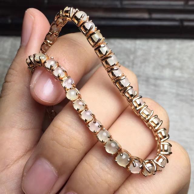 Belas jóias gems tamanho 4.5*4.5mm 925 sterling silver natural Birmânia Uma classe icy jade pulseira para mulheres pulseiras