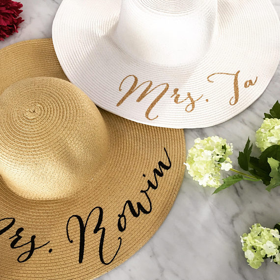 customize text beach wedding bride bridesmaid statement floppy Mrs Sequin  Sun Hats Honeymoon bridal shower party gifts favors ea72e396995