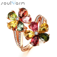 100% Real 925 Silver Jewelry 18K Gold Plated Big Double Flower Rings 3 Carat Water Drop Tourmaline Diamond Party Cocktail Ring