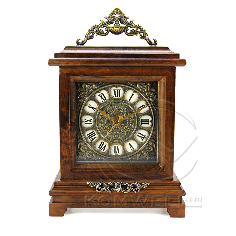 new fashion classic wooden desk clock vintage rectangle home decoration masa saati hourly chiming quartz - Desk Clocks