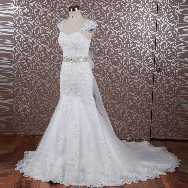 RSW614 Crystal Bling Bridal Gowns Belt Cap Sleeve Bride Lace - Bling Wedding Dresses