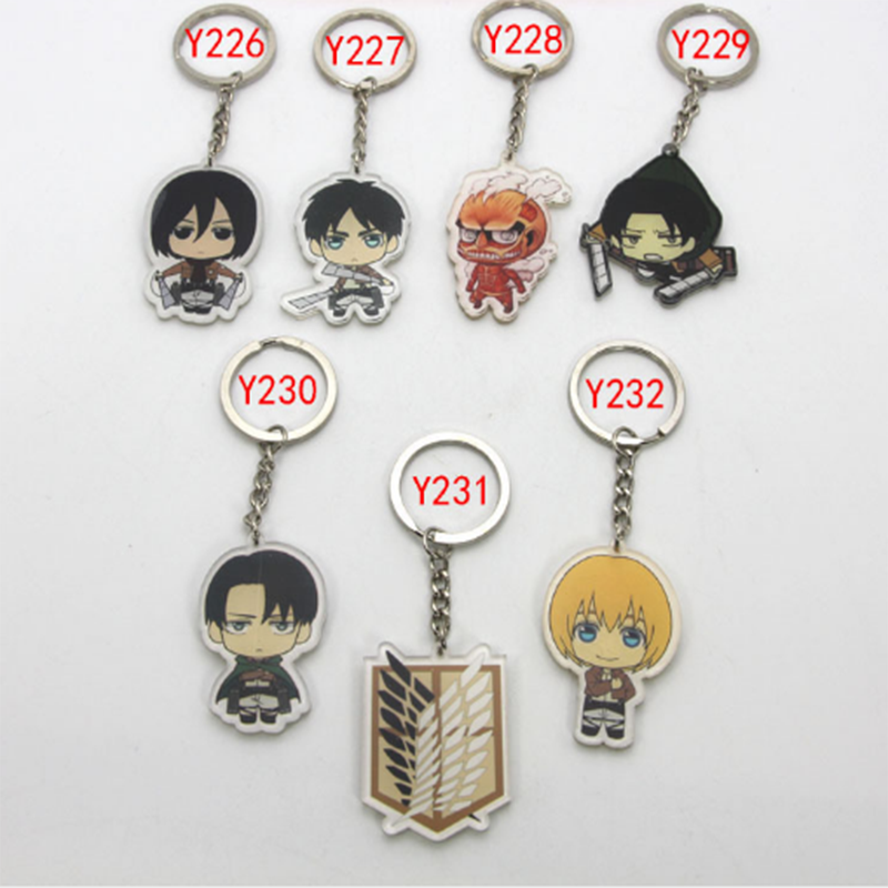 1 Pc Hot sale Attack on Titan Keychain Shingeki no Kyojin Key Chain Acrylic Pendant Car  ...