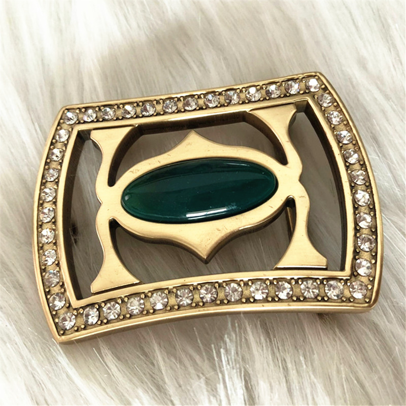 Pure Copper Vintage Antique Belt Buckle Diamond & Jade Western Cowboy Mens Fashion Fine Accessory