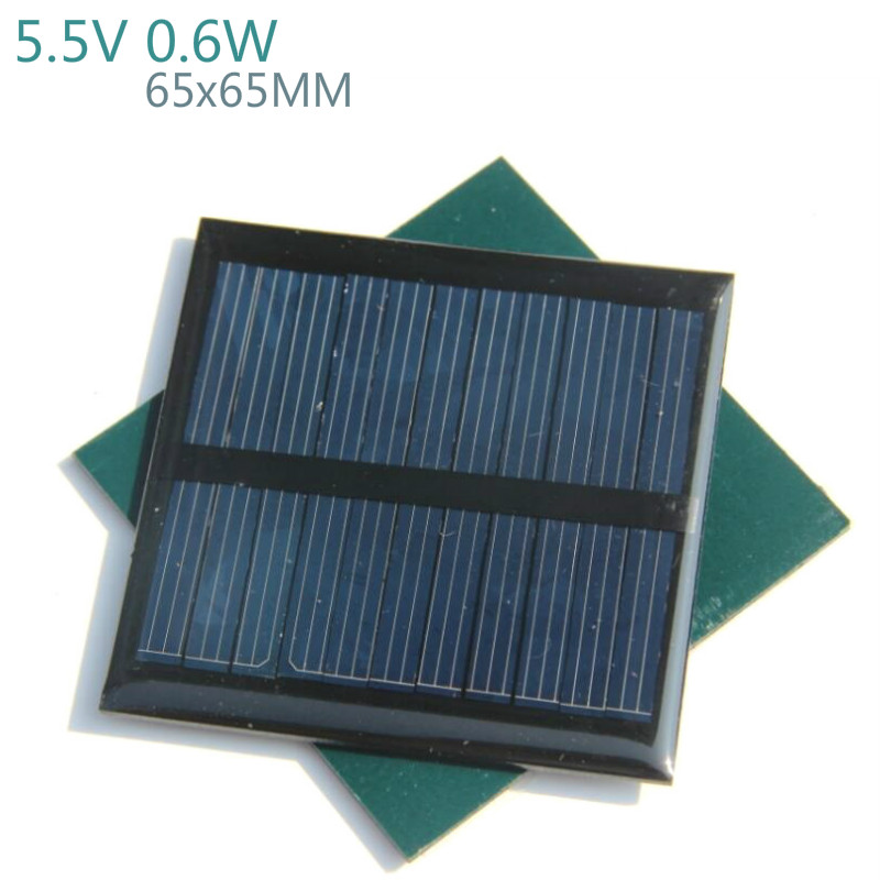Aiyima 5Pcs DIY Solar Panels Efficient Solar Power Charger 5.5V 0.6W 65x65MM Polycrystalline Silicon Panels A Class Solar Panel