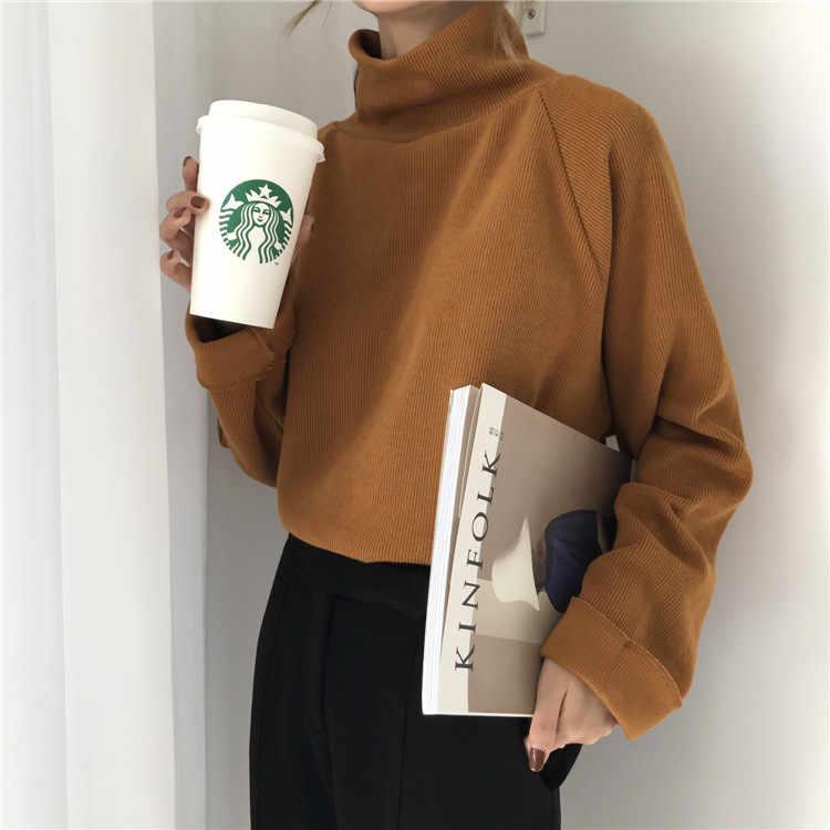가을 겨울 터틀넥 스웨터 여성 2020 패션 솔리드 긴 소매 느슨한 스웨터 Pullovers 여성 니트 점퍼 당겨 Femme