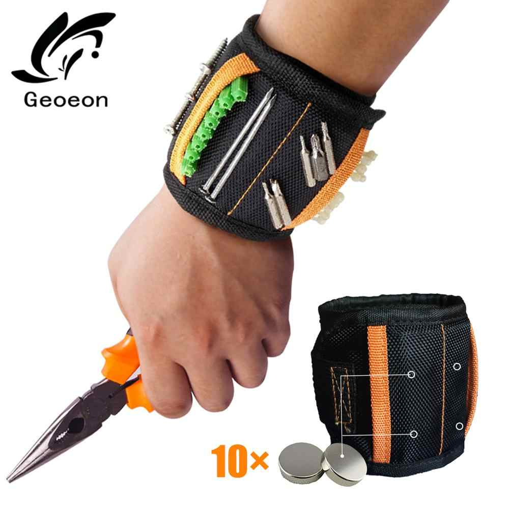 magnetic tool bracelet Magnetic Wristband Portable Tool Bag Electrician Wrist Tool for Holding Screws Nails Drill Bits A35