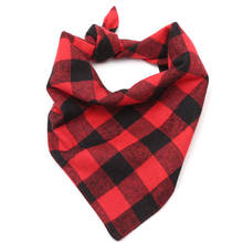 NZBZ. 55cm*37cm Red Tartan Dog Triangluar Bandana Winter Pet Scarf Warm Puppies Cat Scarves Plaid Neckerchief Dogs Accessories