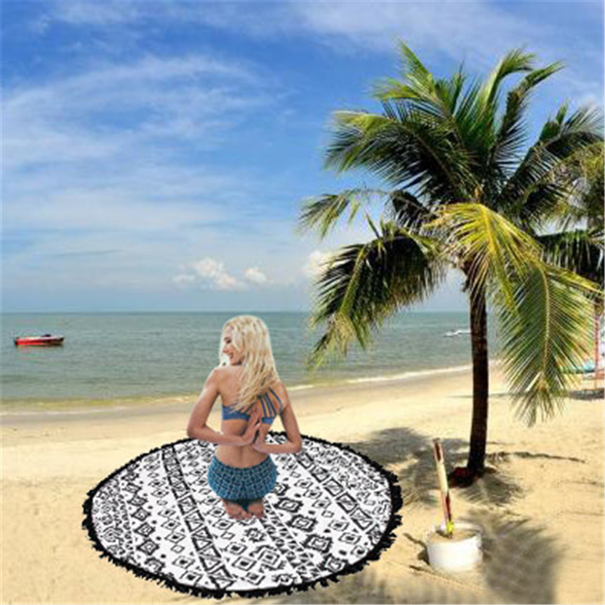 Lovely picnic bestselling Round Beach Pool Home Shower Towel Blanket Table Cloth Yoga Mat Black and white mixsep5