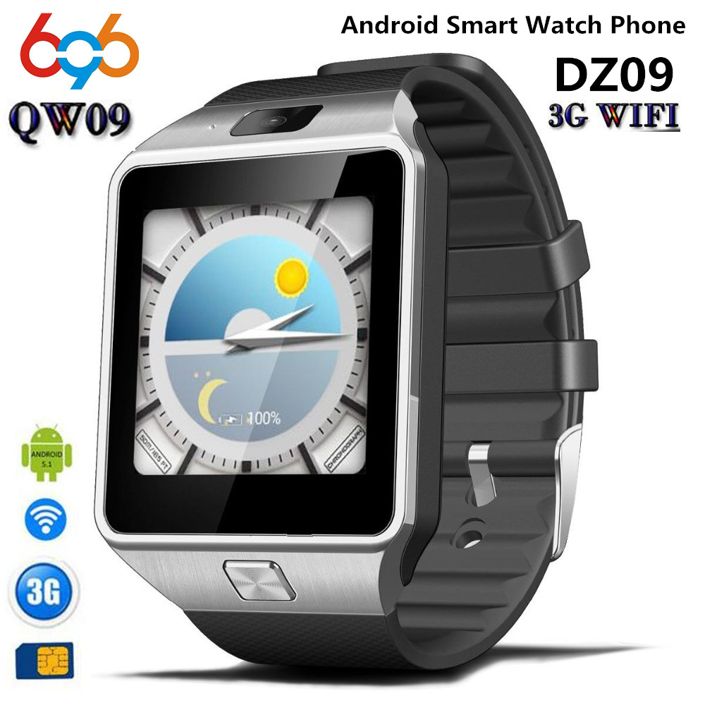 696 QW09 Smart watch DZ09 Android Upgrade Bluetooth Mobile phone Smartwatch Support Wifi 3G SIM Card Play Store Download APP image