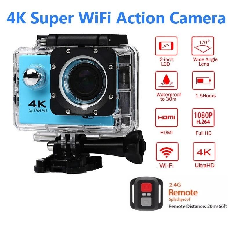 Спортивная камера с дистанционным управлением, Wifi, 4 K/30f, 16 МП, цифровая видеокамера, 30 м, подводная камера, водонепроницаемая, камера на шлем, ...