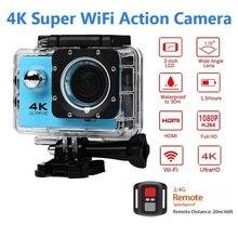 Esporte de controle remoto wifi câmera 4 k/30f 16mp digital gravador de vídeo 30m câmera subaquática à prova dwaterproof água cam capacete câmera electshon