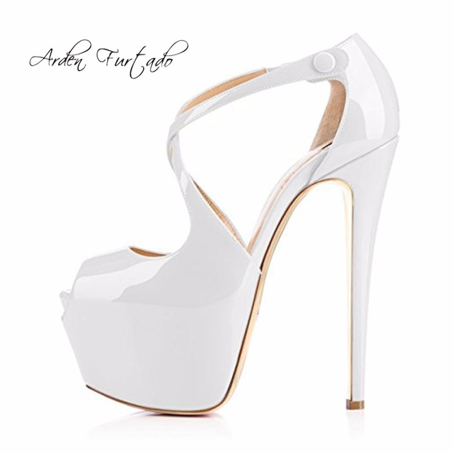 64dee35d013 Arden Furtado 2018 summer high heels 15cm platform sandals peep toe big  size fashion shoes woman white yellow nude purple silver