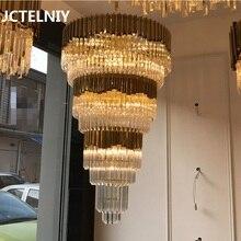 Luxury Crystal Chandelier Gold Duplex Villa Stairs Sales Department Hotel Club Lobby Light