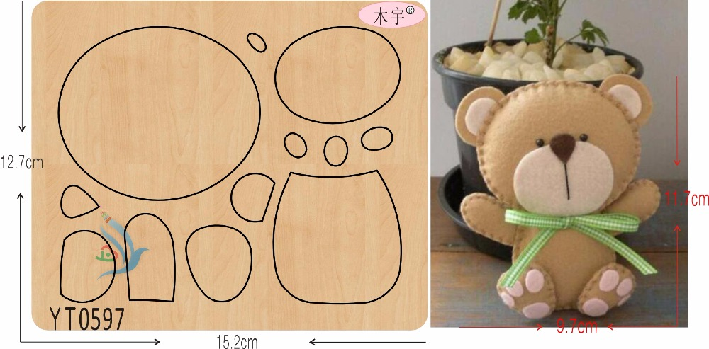 Lovely bear DIY new wooden mould cutting dies for scrapbooking Thickness 15 8mm YT0597