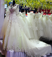Wedding Dress 2017 Hot Sale Sweetangel Charming Luxury A Line V Neck Crystal Beading Half Sleeves