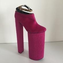 Pink Horsehair Women Pumps Ankle Strap 35cm Heel 25cm Platform Size US14 Ladies Pump Shoes Real Image Custom Color Customized