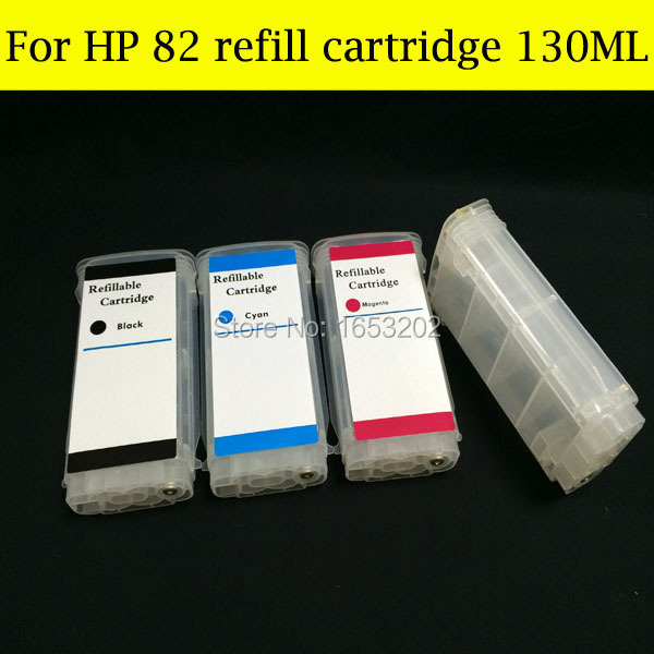 4 Color/Lot HP82 Refill Ink Cartridge For HP 82 82XL With ARC Chip Use For HP Designjet 510 Plotter Printer 320ml 4 colors refillable ink cartridge for hp 82 with permanent chip for hp 510 printer bulk ink cartridge