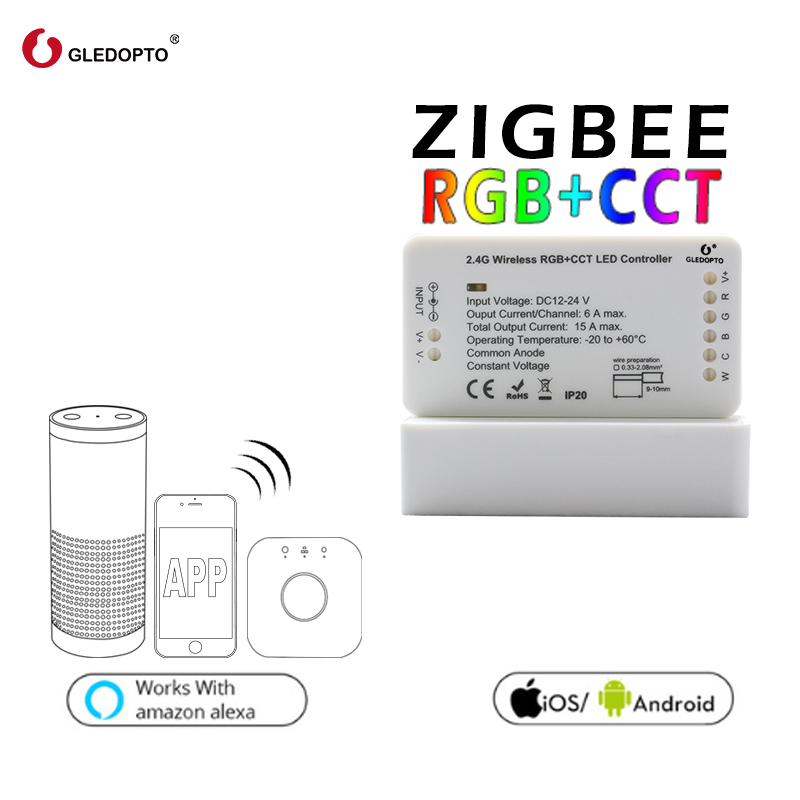 GLEDOPTO ZIGBEE link light zll RGB+CCT led strip controller rgbcct dc12-24v compatibility aleax plus le and many gateways zigbee bridge led rgbw 5w gu10 spotlight color changing zigbee zll led bulb ac100 240v led app controller dimmable smart led