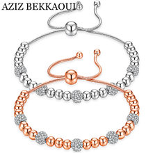 AZIZ BEKKAOUI Luxury Rose Gold Color Chain Link Bracelet for Women Jewelry Romantic Shining Cubic Zircon Crystal Bead Bracelets(China)