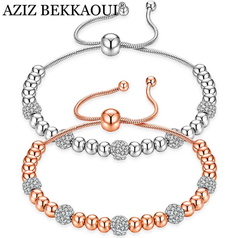 AZIZ BEKKAOUI Luxury Rose Gold Color Chain Link Bracelet for Women Jewelry Romantic Shining Cubic Zircon Crystal Bead Bracelets