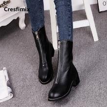 Cresfimix mulheres casual outono & inverno zipper botas longas senhora lazer confortável preto pu botas de couro botas femininas a2679