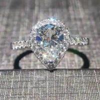 Forma de corazón joyería de lujo 925 PEAR 5A blanco zirconia CZ partido impresionante mujeres boda anillo de regalo tamaño 5-10