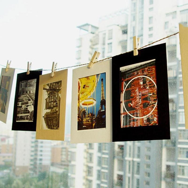 10 Pcs DIY Kraft Paper Photo Frame Hanging Wall Photos Picture Album Kraft Paper Clips And Rope For Home Wedding Decoration