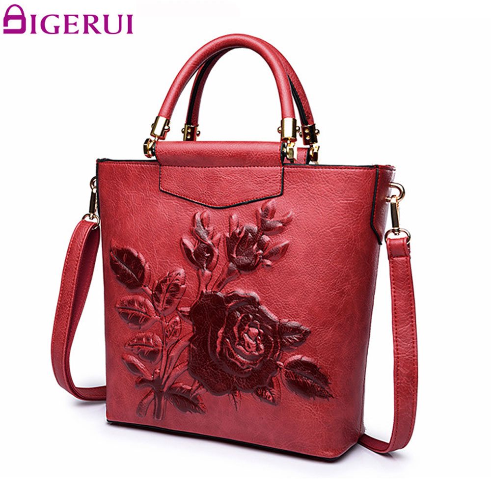 DIGERUI Embossing Flower Handbag Ladies Elegant National Women Leather Shoulder Bag High Quality Totes A5367 blazer georgede blazer