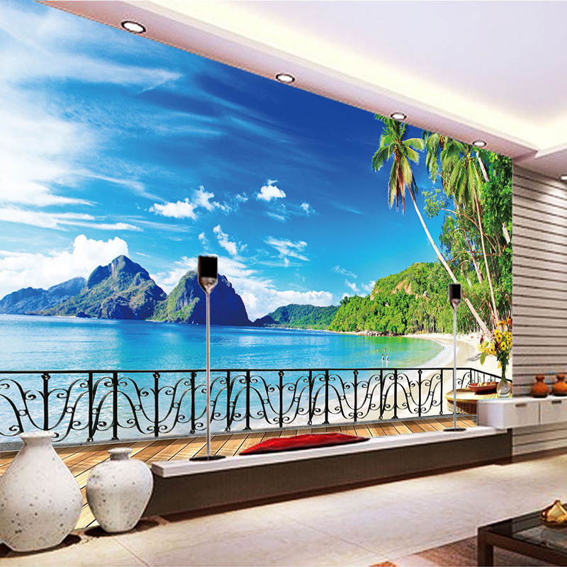 3D Wall Mural Custom Photo Wallpaper Balcony Beach Scenery Living Room 3D Landscape Wall Paper Wallcoverings Home Decorations