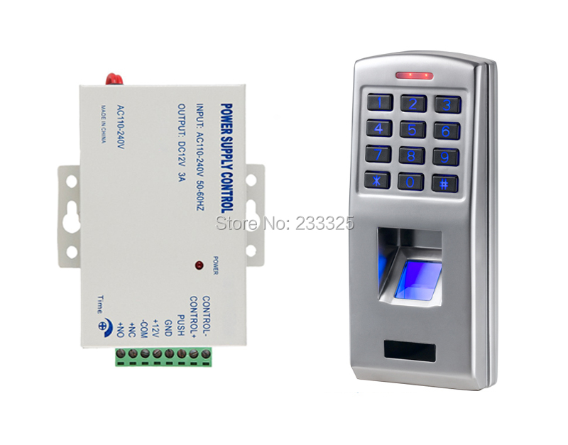 ФОТО Standalone 500 users full metal fingerprint keypad password code reader door lock access control with power supply 12v 3A