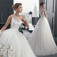 2015 Elegant Sheer Wedding Dresses Lace A Line Sweetheart Beads Applique Sweep Train Bridal Gown yk1A399