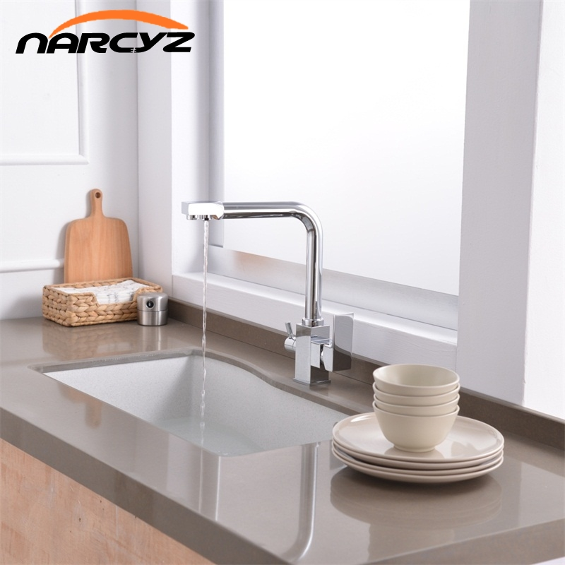 Square Filter Faucets Kitchen 3 Way Water Tap Dual Lever Kitchen Taps Chrome Musluk Deck Mounted