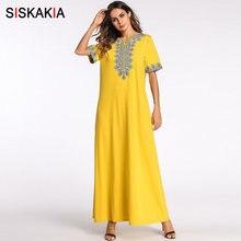 b1731b549e3393 Siskakia vintage etnische geborduurde maxi lange jurk Korte mode stedelijke  toevallige Ramadan kleding slanke plus size swing ju.