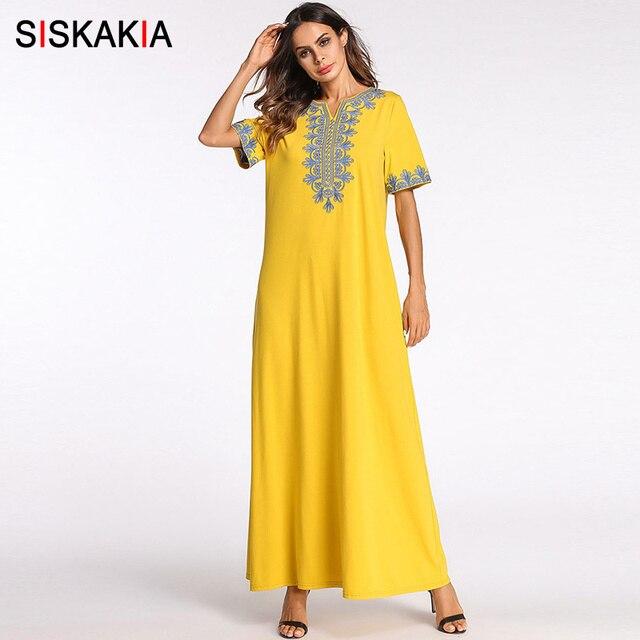 US $21 28 40% OFF|Siskakia vintage ethnic embroidered maxi long dress Brief  fashion urban casual Ramadan clothing slim plus size swing dresses new-in