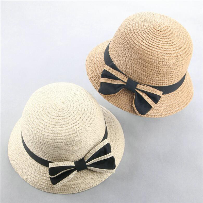 Summer Kids Butterfly Knot Straw Hats Fedora Hat Children Visor Beach Sun Baby Girls Sunhat Wide Brim Floppy Panama For Girl