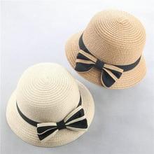 Verano de los niños de la mariposa nudo sombreros de paja Fedora sombrero  niños visera de Sol de playa Bebé niñas sombrero de al. 1ac6346b3053