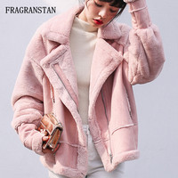 2017 Autumn Winter Lady Thicken Warm Lambswool Suede Patchwork Parkas Women Casual Fashion Loose Pink Turn