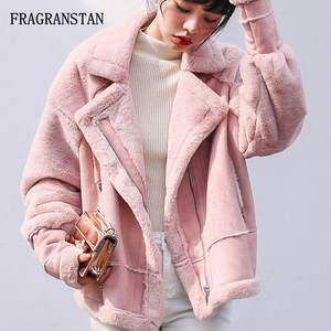 950f6a8a3b3 FRAGRANSTAN Autumn Winter Lady Warm Parkas Women Pink Coat