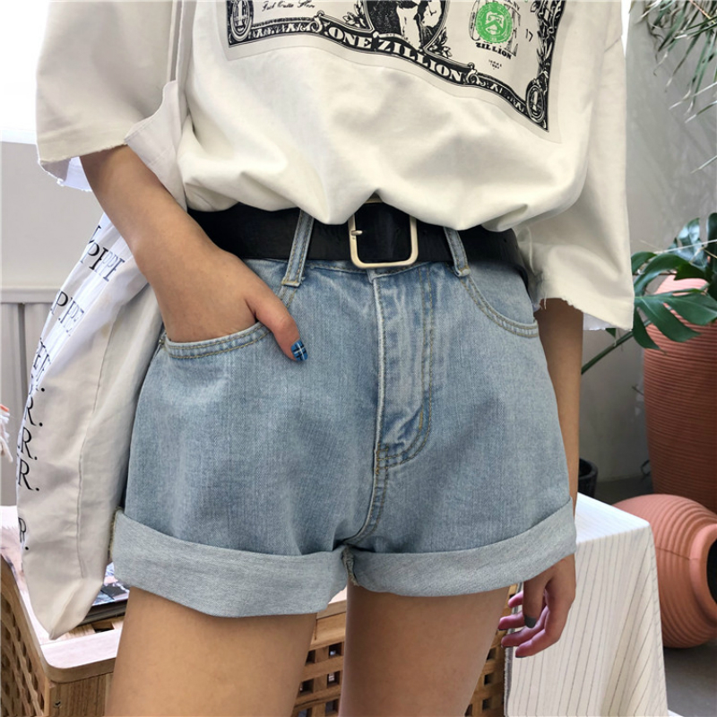 KYMAKUTU Casual denim shorts Gifted belt dames 2018 New Summer Jean - Dameskleding