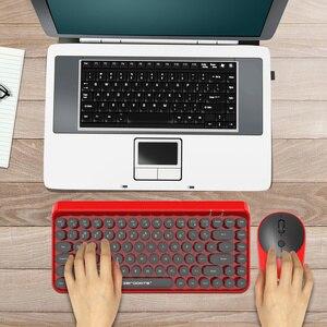 Image 5 - ZERODATE Neue mode retro drahtlose tastatur und maus set 2,4g maus und tastatur set rot stil Geeignet für PC notebooks