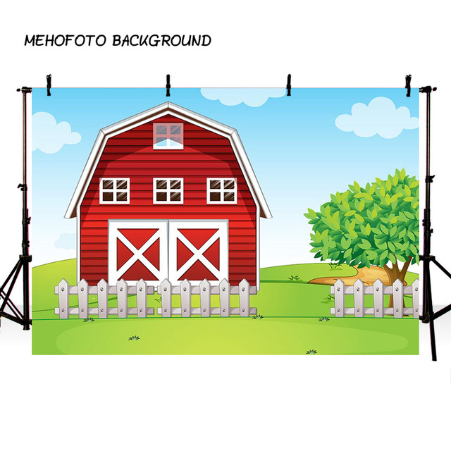 Farm Theme Vinyl Photography Background Red Barn Barnyard Tractor Balloons Animals Fence Garden Custom Kids Birthday