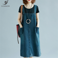 2019 Summer Fashion New Cowgirl Strap Dress Long Paragraph A Word Blue Loose Dress Large Size Literature H00428