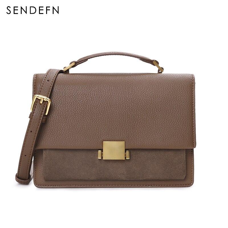 Sendefn Fashion Soft Ladies Bag Quality Women Bag 2018 Split Leather Messenger Bags Adjustable Strap Hand Bag Brown