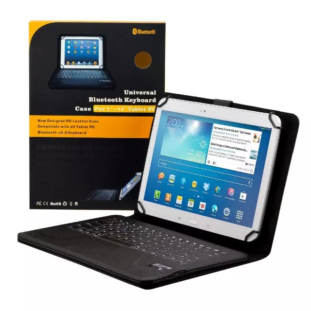 Universal Dechatable Bluetooth Keyboard & PU Leather Case Cover for Huawei MediaPad M2 10 inch Tablet Screen Protective