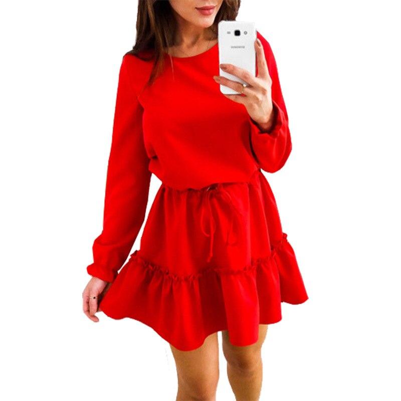 Женское мини-платье с рюшами, туника с о-вырезом и длинным рукавом, Свободные Повседневные Классические платья для женщин WS4560U