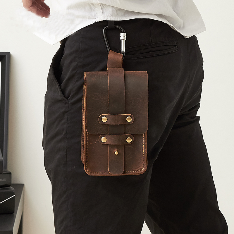 Vintage Crazy Horse Genuine Leather Men Phone Bag Waist Packs Casual Mini Package Multifunction Male Metal Buckle Drawstring drawstring waist m slit tube dress