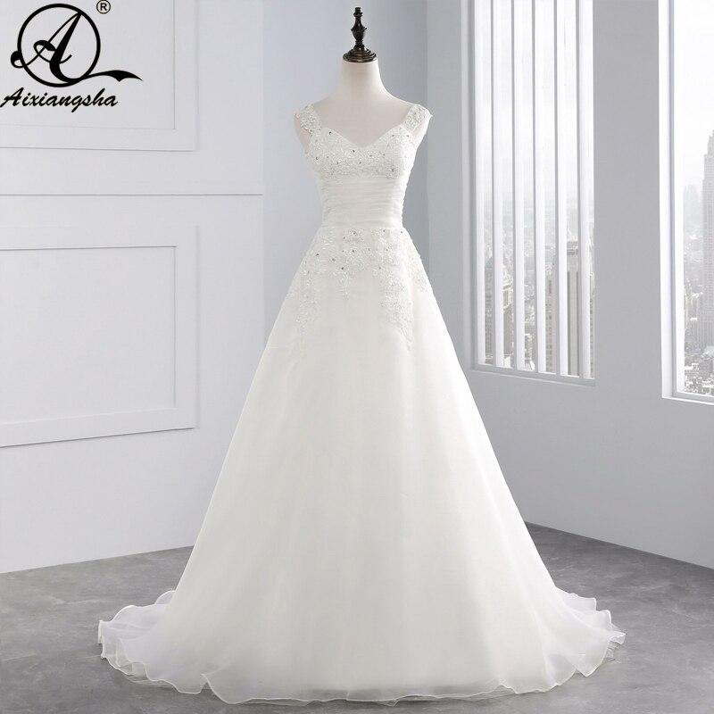 2018 gaun pengantin renda baru garis dari bahu manik-manik gaun pengantin dengan kereta menyapu Cosplay Noiva