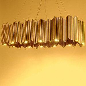 Image 2 - Włochy projekt złoty Delightfull Brubeck żyrandol aluminium rura ze stopu zawieszenia oprawy moda lampa projektorowa